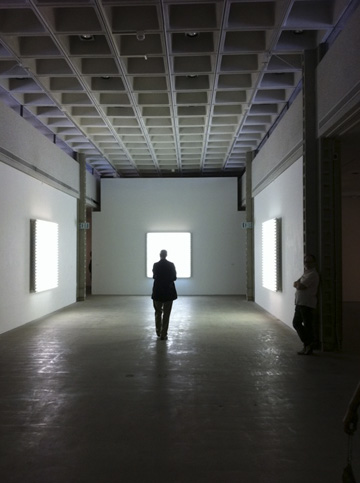 """Heather Carson merges Dan Flavin's industrial strength fluorescent tubes and lighting fixtures with Agnes Martin's painted pastel abstractions of horizontal color bars, forming an unlikely pairing for wall sculptures simultaneously ephemeral and muscular."" Christopher Knight, L.A. Times"