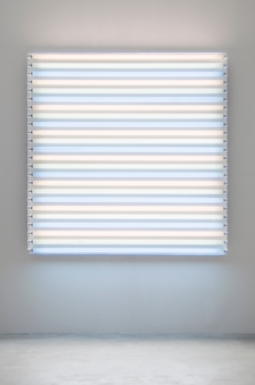 "HEATHER CARSON light/LINES: Untitled #1, 2011 Fluorescent lights, aluminum pipe, Speed-Rail, conduit hangers 72"" x 72"" x 7 3/4"""