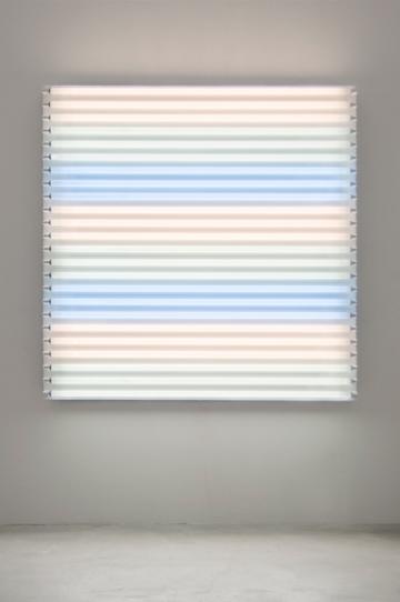 "HEATHER CARSON light/LINES: Untitled #2, 2011 Fluorescent lights, aluminum pipe, Speed-Rail, conduit hangers 72"" x 72"" x 7 3/4"""