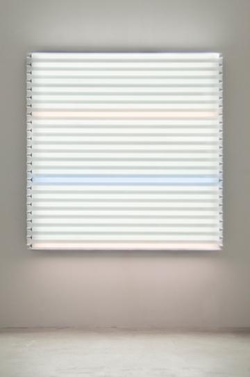 "HEATHER CARSON light/LINES: Untitled #3, 2011 Fluorescent lights, aluminum pipe, Speed-Rail, conduit hangers 72"" x 72"" x 7 3/4"""